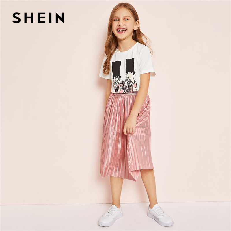SHEIN Kiddie Girls Casual Graphic Tee And Pleated Satin Skirt Two Piece Set Children 2019 Summer Short Sleeve Kids Suit Sets