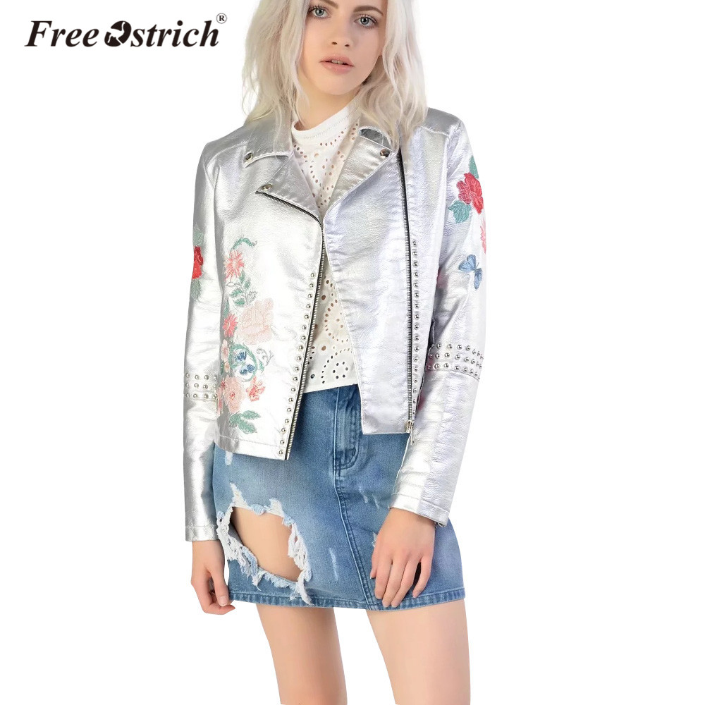 Free Ostrich Coat PU Leather Jacket Women Flowers Embroidery Slim Motorcycle Zipper Coat ...