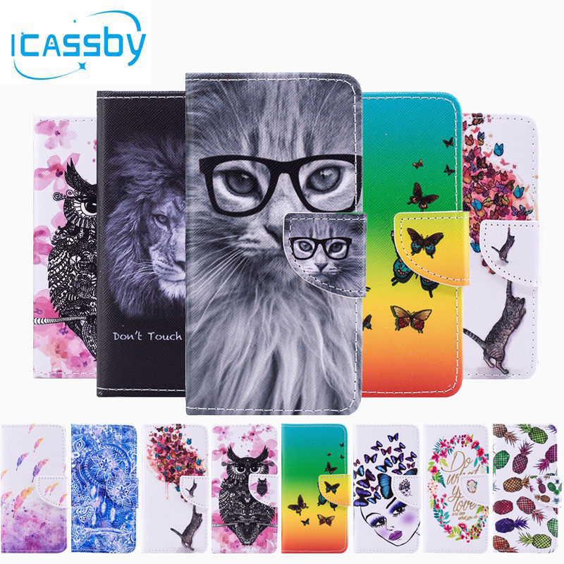 sFor Coque Huawei Y3 2017 Case Cute Cat Owl Leather Flip Wallet Phone Cases For  Huawei Y3 2017