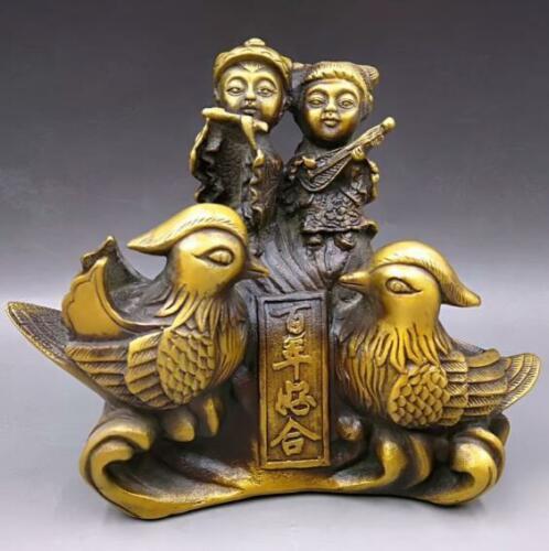 Çin İşi Eski Pirinç Oyma Yeni Evliler Ve Mandalina Ördek Aşk Heykeli Evlilik Odası Dekorasyon Evlilik Hediyeler|Statü ve Heykelleri|Ev ve Bahçe - title=