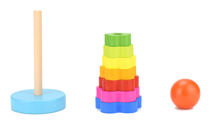 Baby Kid Education Wooden Toy Stacking Nest Learning Stack Up Rainbow Tower
