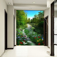 Art Stickers Mural Rustic Natural Flowers And Entrance Sofa Background Wallpaper 3d Stereo Home Decor