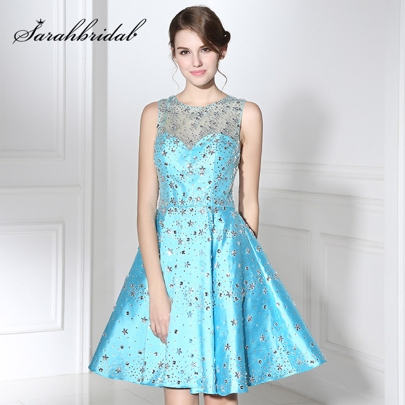 New Arrival Sky Blue Mini Prom Dresses With Glitter Sequined Stars