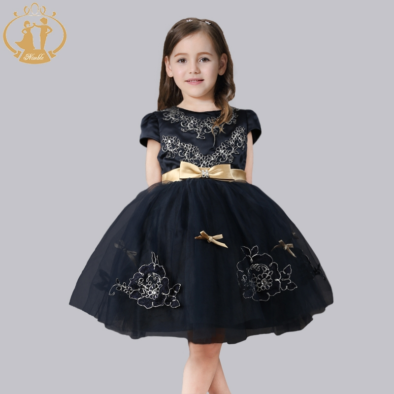 Nimble Girl clothes Cute Flower O-neck Ball Gown  Appligues Cotton lining Birthday Party clothes Bow Pearl Princess Wear