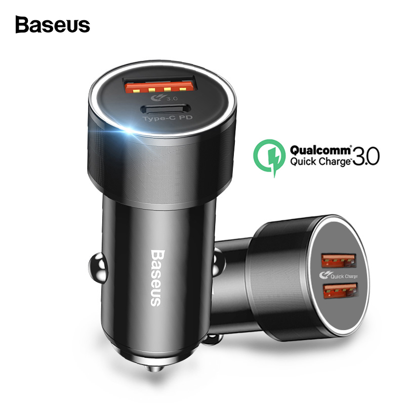Baseus 36w USB Car Charger Quick Charge 3.0 QC QC3.0 Type C PD Fast Car Charging Charger For iPhone Samsung Xiaomi Mobile Phone feature phone