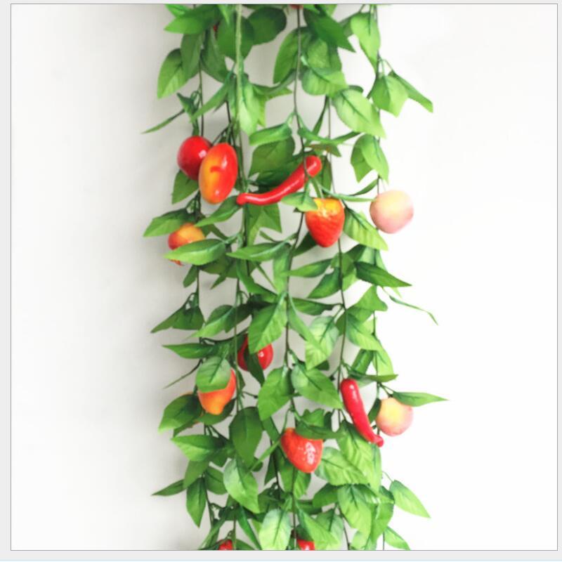 Fleurs artificielles 1 fruits mousse légumes, magasin de fruits en rotin, ferme joyeux jardin d'enfants plafond, fausses feuilles plantes vignes - 3
