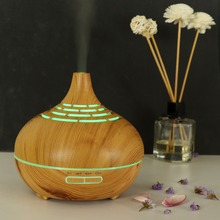 400ml Aroma Essential Oil Diffuser Wood Grain Hollow Ultrasonic Air Humidifier With 7 Color Soothing Light For Home Bedroom Yoga