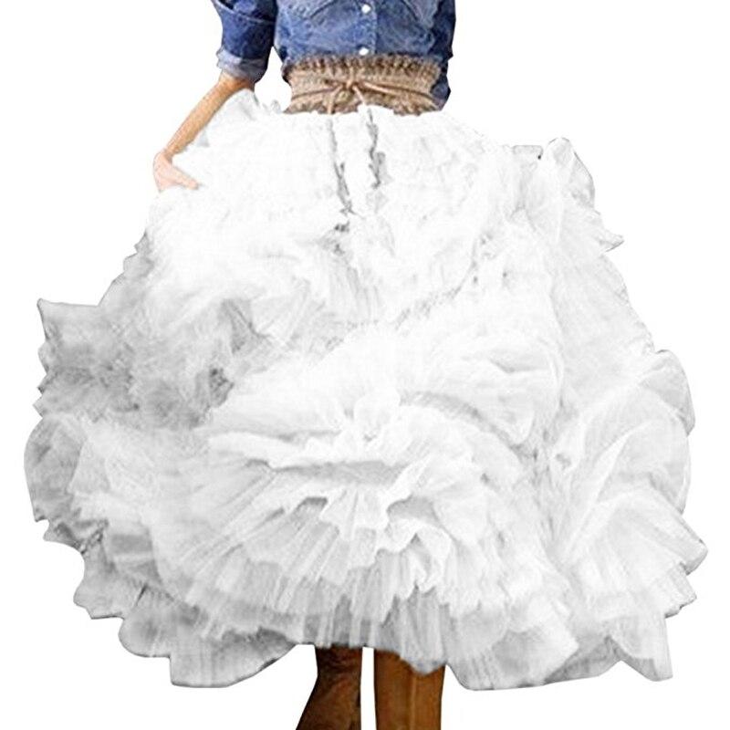 Ruffles Lush De Hecha Vestido Bola Pantorrilla Medida Beige Diseño Especial Plisado Tul A Faldas Niveles Femenina Organza Por 2017 blanco Falda Mujeres Medio p8ptE0x