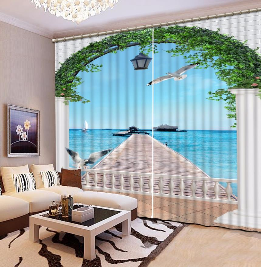 Luxury Living Room Curtains Roman Curtains Home Hotel Office Wall Decoration 3D Curtains Blackout Polyester/Cotton Drapes