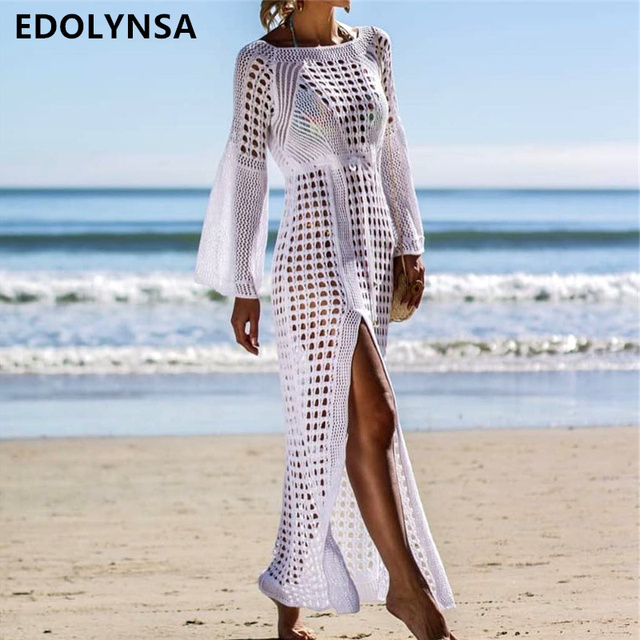 9c5cbfd12e 2019 Crochet Tunic Beach Dress Cover-ups Summer Women Beachwear Sexy Hollow  Out Knitted Swimsuit