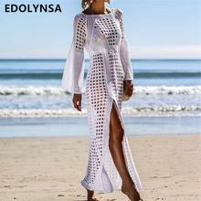 2019 Crochet Tunika plażowa sukienka Cover-upy lato kobiety Beachwear seksowne Hollow out dzianinowy strój kąpielowy pokrywa się Robe de Plage Q716 tanie tanio Poliester Pasuje do większych niż zwykle Sprawdź informacje o rozmiarach tego sklepu EDOLYNSA Stałe Biały Wolna
