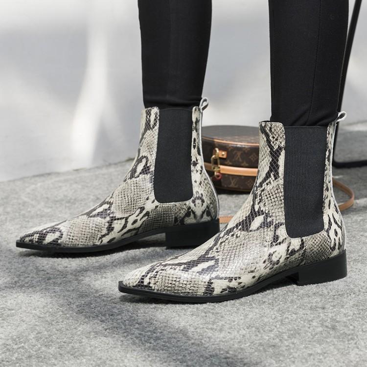 Planas Y Las De Cuero Vaca Punta Khkai Tobillo Botas Con foco Boots Pie Patrón Mujeres Grueso Chelsea Rojo Bulbo Serpiente La 7xTwO