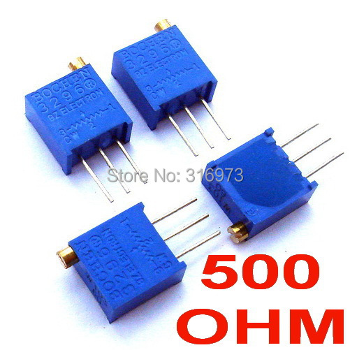 (2pcs/lot) <font><b>500</b></font> <font><b>ohm</b></font> 3296 Multiturn Trimming <font><b>Potentiometer</b></font>. image