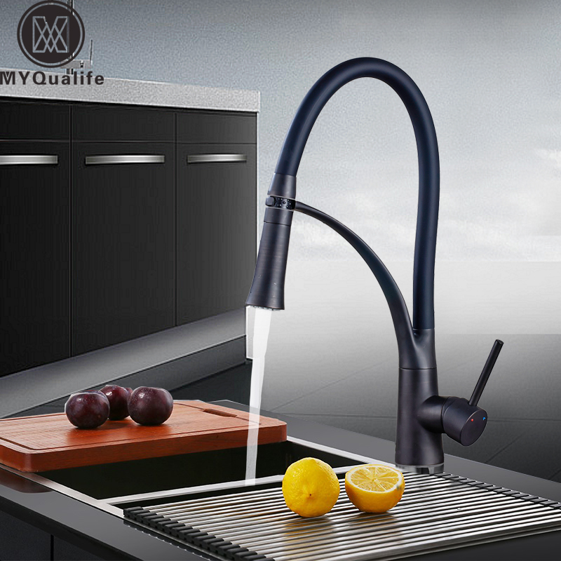 Pull Down Bathroom Kitchen Faucet Single Handle Double Sprayer Nozzle Kitchen Sink Taps Hot and Cold Mixer Crane Tap chrome pull down bathroom kitchen taps single handle brass hot and cold kitchen sink faucet stream sprayer washing crane faucet