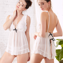 New sexy V-neck straps nightdress mesh semi-transparent pajamas temperament home service with T pants comfortable