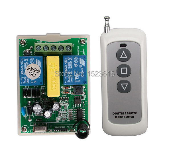 AC 220V 2CH RF Wireless Remote Control Switch 1X Transmitter +1 X Receiver tubular motor garage door projection screen shutters