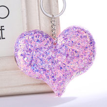 Heart Unicorn Mermaid Butterfly Cat Star Pig Keychain Sequins Keyring Pendants for Women Bags Car Key Phone Accessories(China)