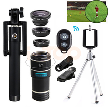 Buy online 12X Zoom Telephoto Lens Kit Telescope With Selfie Stick Fisheye Wide Angle Macro Lentes For iPhone 6s 7 8 plus Cell Phone Lenses