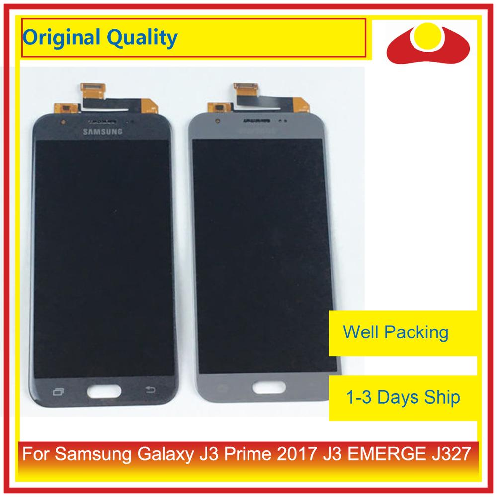 Image 1 - 50Pcs/lot Original For Samsung Galaxy J3 Prime J3 EMERGE J327 LCD Display With Touch Screen Digitizer Panel Pantalla Complete-in Mobile Phone LCD Screens from Cellphones & Telecommunications