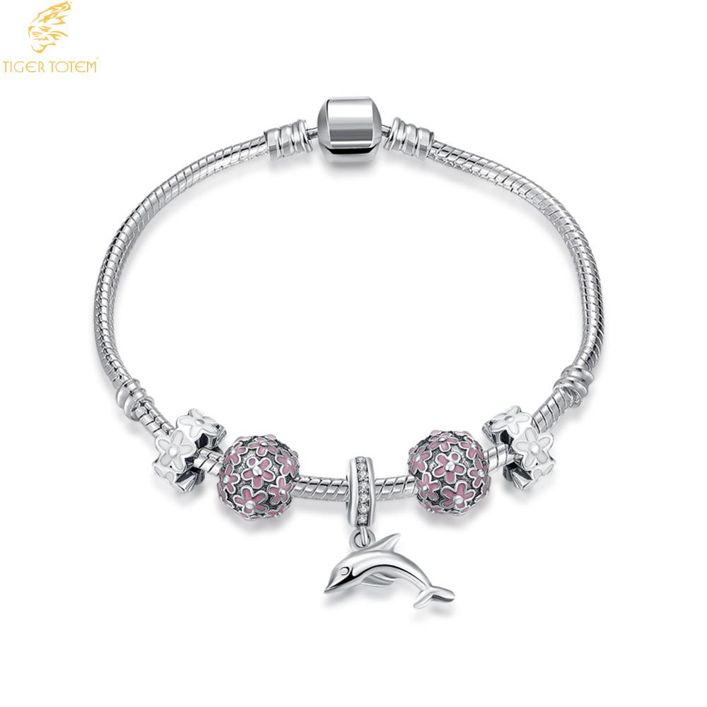tiger totem Antique Silver Charm Bracelet with Love dolphin and Flower Crystal Ball Women Wedding girdfriend Gift Free Shipping flower striped cut and sew dolphin hem tee