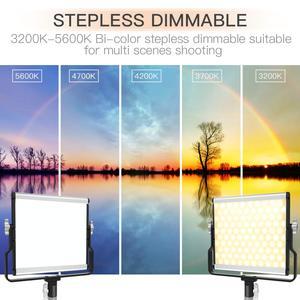 Image 2 - Capsaver L4500 写真撮影の照明 LED 5600k 調光可能な 3200 K 5600 18K 15 ワット CRI 95 金属パネル三脚スタンド
