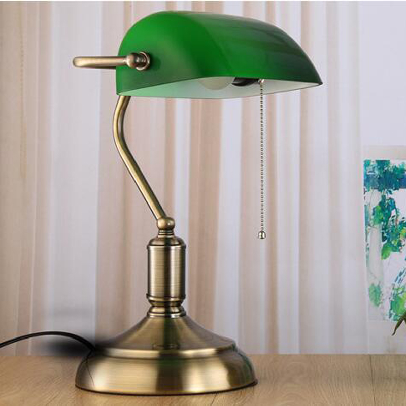 Gentil Classic Retro Green Table Lamps With Pull Chain Switch Glass Lampshade  Alloy Bracket Bedroom Bedside Office Vintage Desk Lamps In LED Table Lamps  From ...