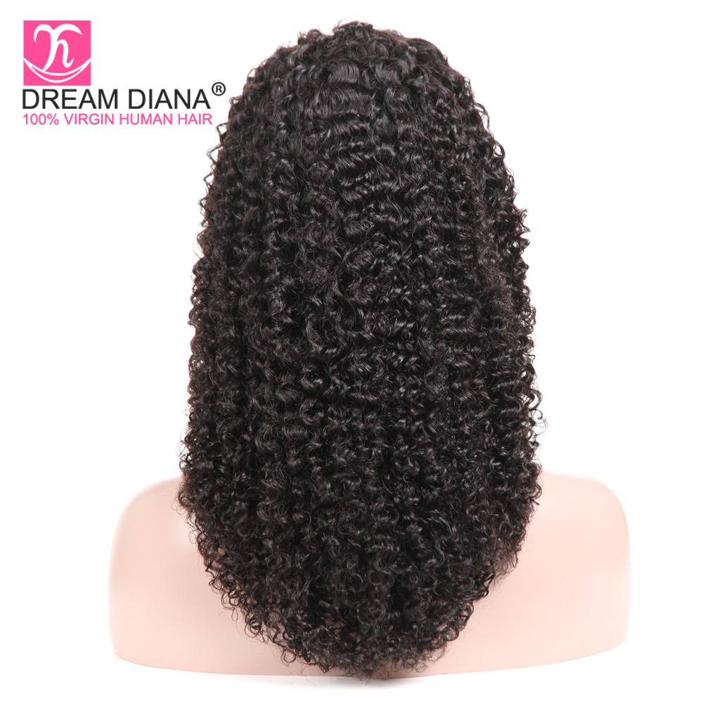 DreamDiana Brazilian Kinky Curly Full Lace Wig Swiss Lace Wig Remy Afro Kinky Full Lace Hand Tied Full Lace Wigs 4 Days Delivery(China)