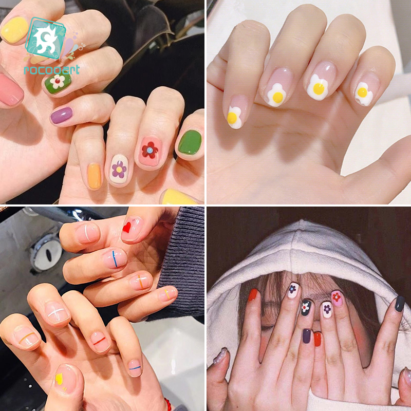 Rocooart Hyuna Series Small Flower Nail Art Water Transfer Stickers Of Colorful Line Fruit Cactus Design Nail Tips DIY