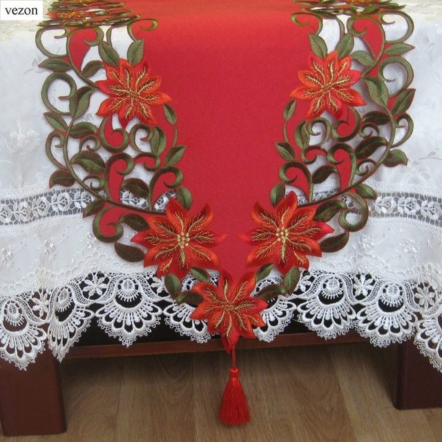 Vezon New Christmas Polyester Embroidery Xmas Table Runner Satin Tablecloth  Cutwork Placemat Red Table Flag Towel