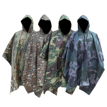 Outdoor camping jungle Hunting Long Raincoat 3 in 1 Tactics Camouflage Men Poncho Backpack Rain Cover Tent Mat Awning