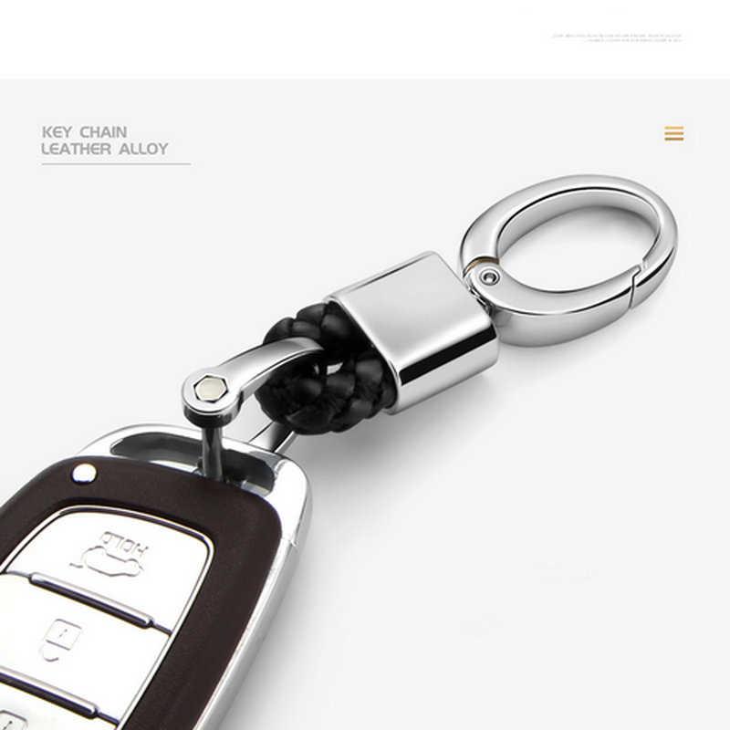 Kulit Logam Mobil Gantungan Kunci Gantungan Kunci Tenun Manual Gantungan Kunci Wanita Pria untuk Mazda Renault Toyota Lada Volvo Kia Honda