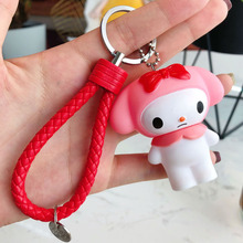 2019 PVC Leather Rope Keychain Cartoon Melody Keyrings Key Chains Jewelry Porte Clef 3D Pendant