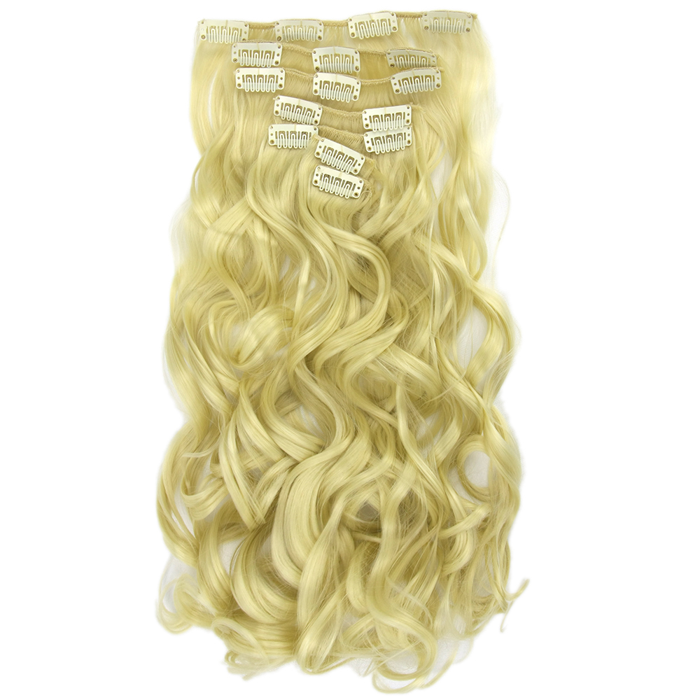 Symbol Der Marke Soowee 16 Clips 7 Teile/satz Langen Lockigen Gerade Synthetische Haar Blonde Grau Clip In Haarverlängerungen Vollen Kopf Haar Für Frauen Haarverlängerung Und Perücken