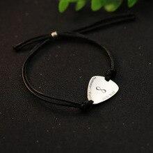 font b Engraved b font Name Infinity Symbol Guitar Pick Bracelet Stamped Message Men s