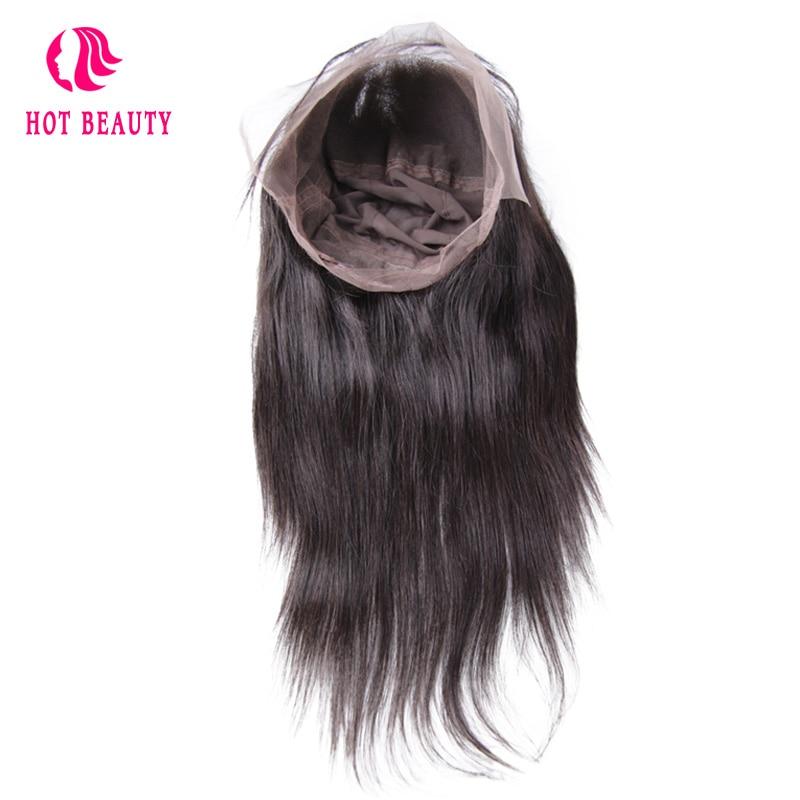 Frumusete Hot Hair Parul Peruvian Drept 360 Lace Frontal Cu Capul Pre - Păr uman (pentru negru)
