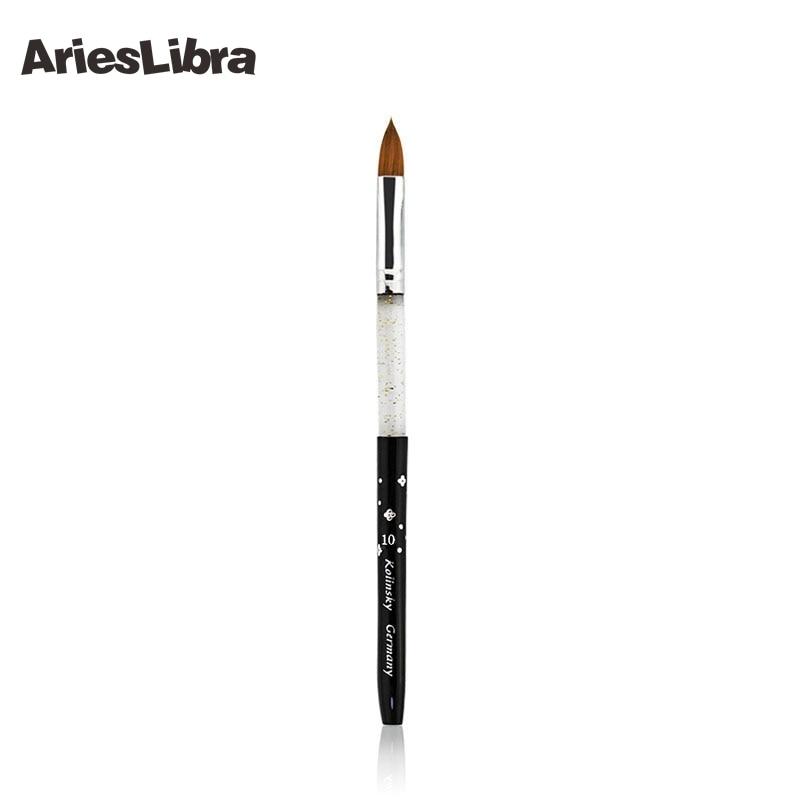 AriesLibra 10# 100pcs Acrylic Brush Kolinsky Sable Brush Professional Nail Art Tool Pen Acrylic Nail Brush for Nail Painting