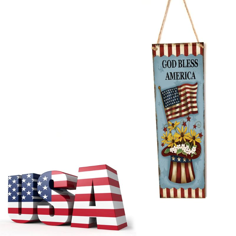 Image 2 - Rustic Wooden Happy God Bless America Flag Sign Plaque Independence Day Room Home Decoration Collection Gift-in Plaques & Signs from Home & Garden