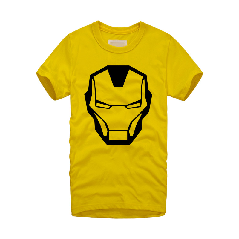 2016 new brand Fashion Cool Ironman Mask T Shirt Men Short Sleeve Cotton O-neck Super hero Iron Man T-shirt Tees Free Shipping