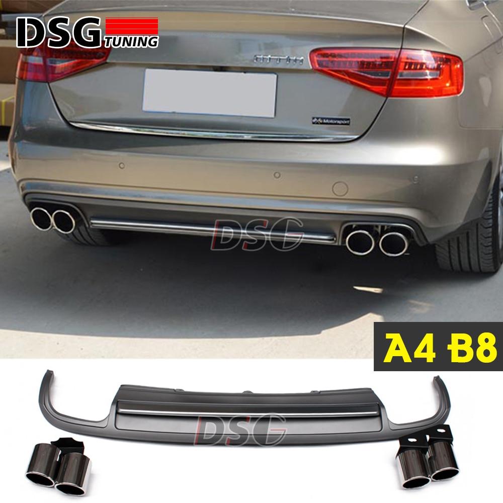 A4 b8 rear diffuser 4 outlet exhaust for audi a4 b8 4 door sedan rear