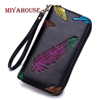 Miyahouse Fashion Feather Embossed Women Wallet Large Capacity Card Hold Leather Wallet For Female Long Purse With Wrist