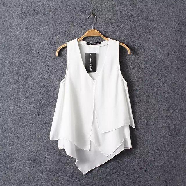 fffac6aa07c28 chili women tops roupa feminina t shirt 2015 sexy Asymmetrical elegant  chiffon blouse vest white women summer office top uk 4