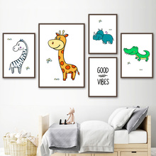 Wall Art Canvas Painting Zebra Giraffe Rhinoceros Crocodile Animal Nordic Posters And Prints Pictures For Kids Room Decor
