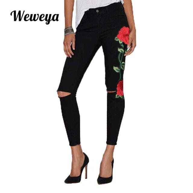 32b6dcfee2f Weweya Высокая талия черный женские джинсы с вышивкой Винтаж Цветочный  джинсовые штаны обтягивающие джинсы для женщин