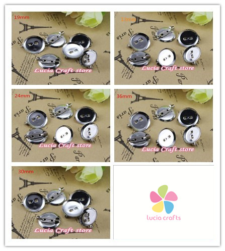 Multi sizes options Garment silver Safety Pin jewelry DIY for brooch and hair brooch round Back Base With Clip 079011007