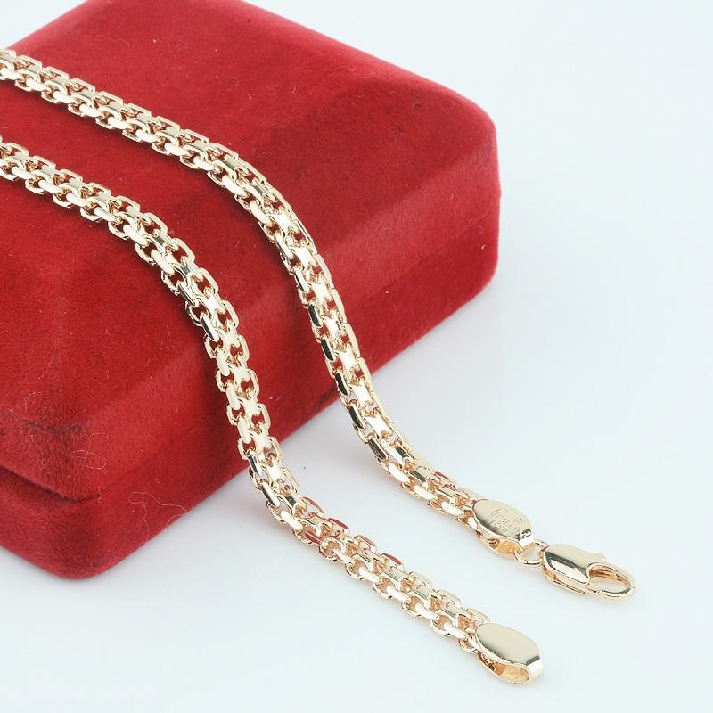 FJ новый 5 мм Для мужчин Для женщин 585 Золото Цвет Цепи вырезать витой Горячий русский Цепочки и ожерелья Длинные Jewelry (не красный коробка)