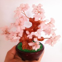 Natural rose crystal lucky tree pink genstone gravel stone tree fengshui home decor