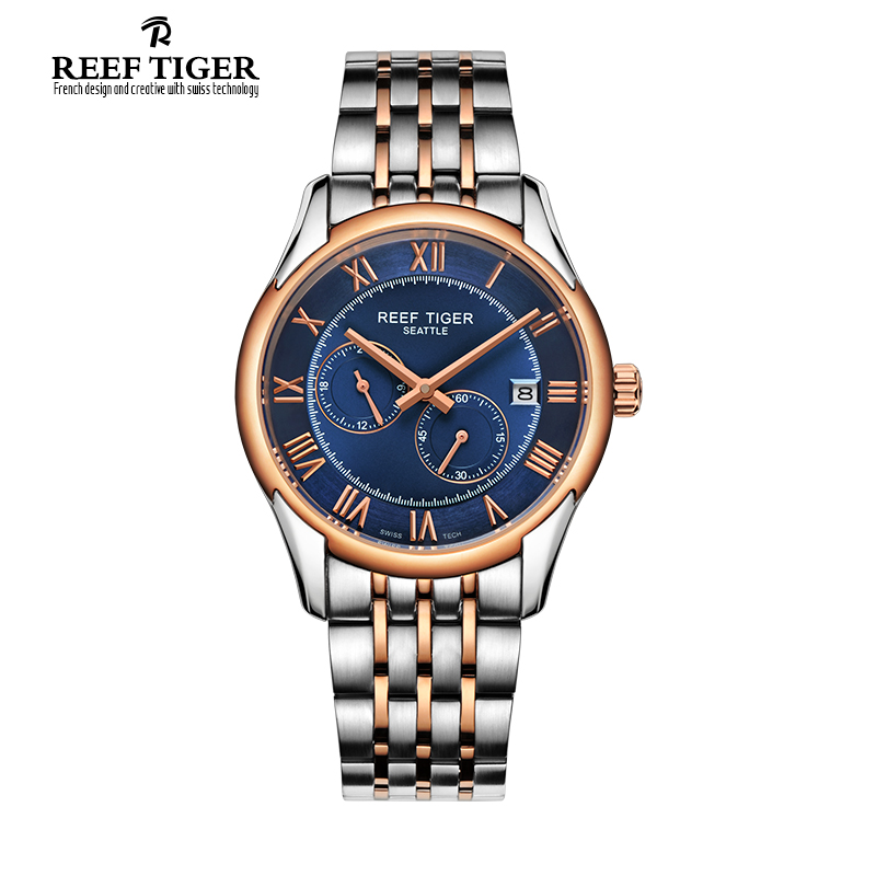 Reef Tiger/RT New Design Fashion Business Mens Watches with Four Hands and Date Automatic Watch Rose Gold Steel Watches RGA165 yn e3 rt ttl radio trigger speedlite transmitter as st e3 rt for canon 600ex rt new arrival