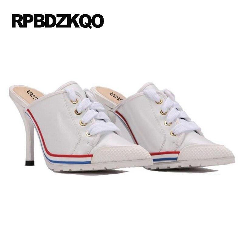 Lacets De Hauts À blanc Véritable Luxe Sneakers Chaussures Noir Pantoufle Cuir Marque 2017 Designer Multicolore bleu Femmes Blanc Sandales Talons Mules En AqR3j54L
