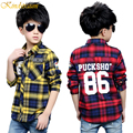 Kindstraum 2016 Plaid Shirts for Boys Fashion Brand Cotton Letter Design Long Sleeve Kid's Dress Shirt, HC018