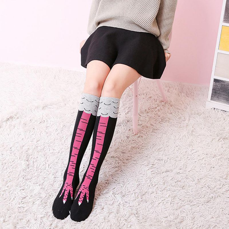 Women's Cotton Sports Socks Crazy Funny Chicken Legs/Boots Knee High Gift Sock Soft  Outdoor Supplies